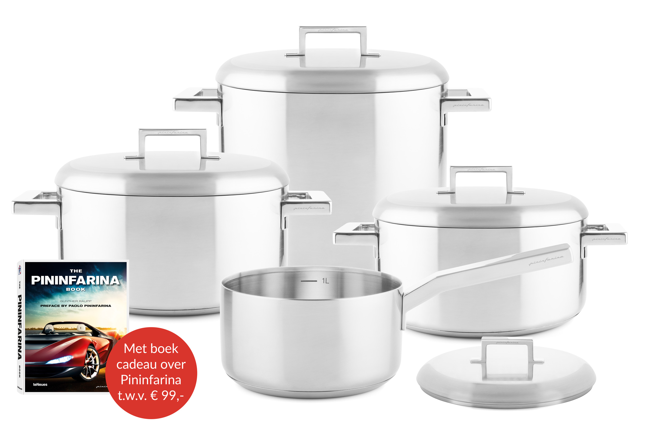 Stile cookware set 8 pcs with Pininfarina book